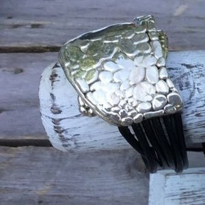 Art Bracelet Israel Silver / Leather Magnetic